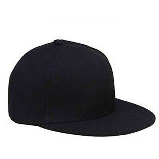 42a92e90e74 babji fashionable black Plain Solid Hip Hop Snap-back Cap For Men And Women  Cap