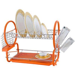 Chrome 2 Tier Dish Drainer Rack Glass Utensil-Orange