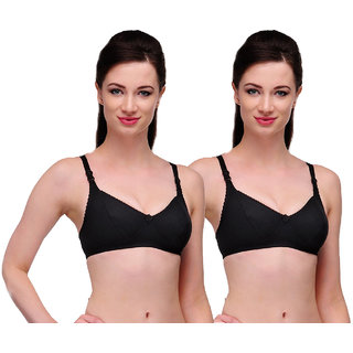 Ansh Fashion Wear Women's Wirefree Non Padded Daily Full Cup Bra Pack Of 2
