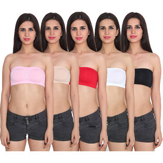 Ansh Fashion Wear Multi Color Cotton Tube Bra Pack Of 5