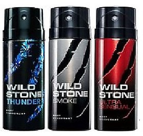 Wildstone Spray Deo(Thunder,Ultrasensual,Smoke) For Men 150ml (Set + 3)