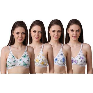 Ansh Fashion Wear Women's Regular Cotton Wear Assorted Colour Print  Bra Pack Of 4