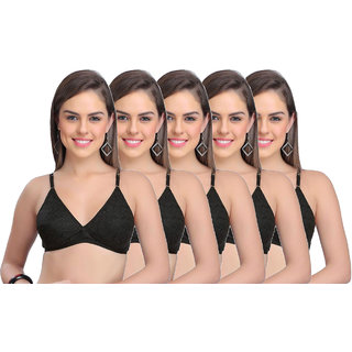 Ansh Fashion Wear Women's Wirefree Non Padded Daily Full Cup Bra Pack Of 5