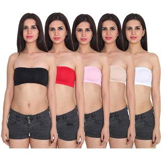 Ansh Fashion Wear Multi Color Cotton Tube Bra Pack Of 5