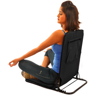 Folding Floor Cum Yoga Picnic Camping Meditation Chair - Black