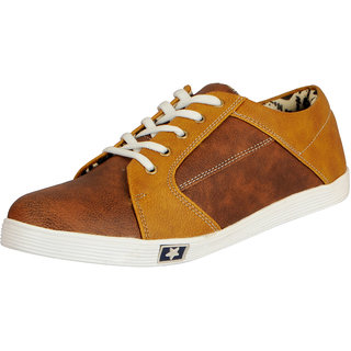 FAUSTO Men's Brown Synthetic Sneakers