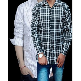 8b771fdc6c092a 54%off Tom T Mens New Pattern Black Check Special White Dotted Casual Shirts