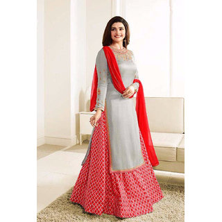 Salwar Soul New Designer Gray nd Red Lehenga Suit