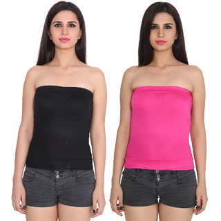 56dcb3f8d6edd0 Buy Ansh Fashion Wear Black Color Cotton Spaghetti Tube Top Pack Of 2  Online - Get 67% Off