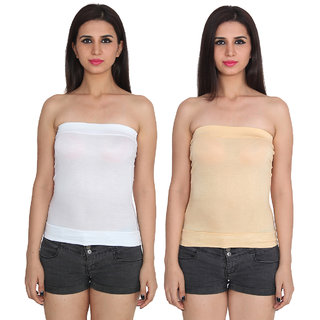 c16638cfe0 Buy Ansh Fashion Wear White Color Cotton Spaghetti Tube Top Pack Of 2  Online - Get 67% Off