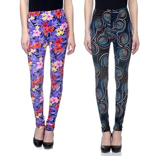 Tara Lifestyle Printed Stretchable Leggings for Womens-Free Size (Waist 26 to 34) Pack of 2