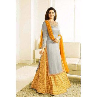 Salwar Soul New Designer Gray nd Yellow Lehenga Suit