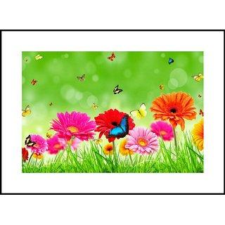 MYIMAGE Beautiful Flowers  Digital Printing  Framed Poster (35 cm x 49 cm)