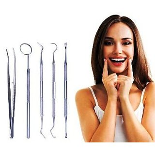 Dental Tool Set Kit Dentist Teeth Clean Hygiene Picks Mirror Scaler Dental Explorer Probe Oral Care 5 Pcs  Stainless