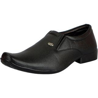 FAUSTO Men's Black Slip on Smart Formals Shoes