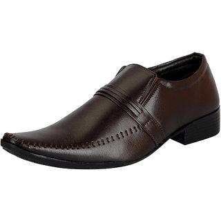 FAUSTO Men's Brown Slip on Smart Formals Shoes