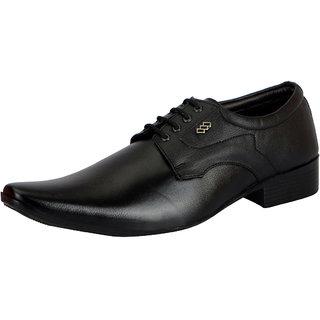 FAUSTO Men's Black Lace-up Smart Formals Shoes