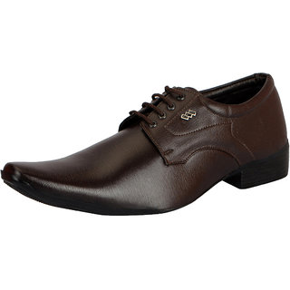 FAUSTO Men's Brown Lace-up Smart Formals Shoes