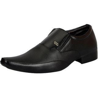 FAUSTO Men's Black Slip on Smart Formals Shoes