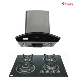 Seavy Prime 1300 M3/h 60cm Auto Clean Chimney with 4 Burner Hob Combo Set