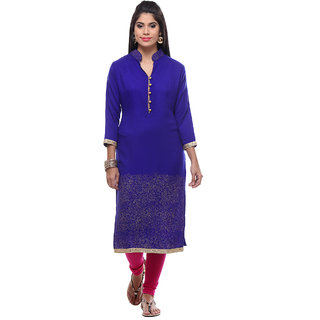 8b66628b4a332 Buy Meia Blue Printed Wool Stitched Kurti Online - Get 63% Off