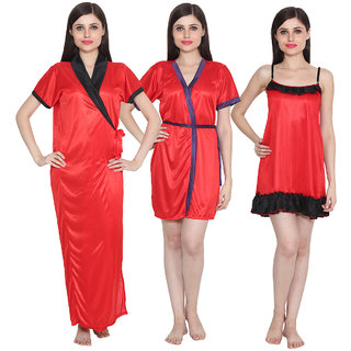 Ansh Fashion Wear Women Combo of 3 Baby Doll Dress Nighwear