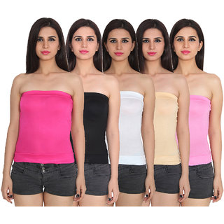 Ansh Fashion Wear Cotton Spaghetti Tube Top Pack Of 5