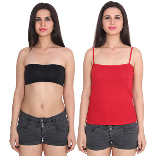 Ansh Fashion Wear Color Cotton Spaghetti & Tube Pack Of 2
