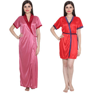 Ansh Fashion Wear Women's Satin Nightwear Babydoll Dress Pack of 2