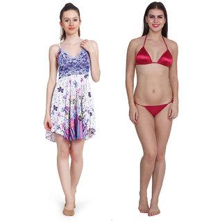 Ansh Fashion Wear Women's Satin Night Wear With Thong Set