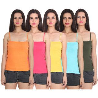 Ansh Fashion Wear Color Cotton Spaghetti Pack Of 5