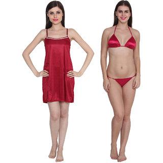 Ansh Fashion Wear Solid Colour Night Dress With Bra & Thong Set