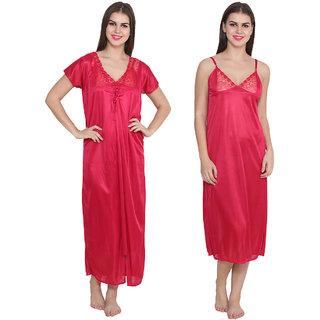 Ansh Fashion Wear Red Color Satin Wedding Nighty With Rob