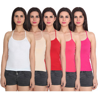 Ansh Fashion Wear Cotton Spaghetti ULTER NECK Pack Of 5