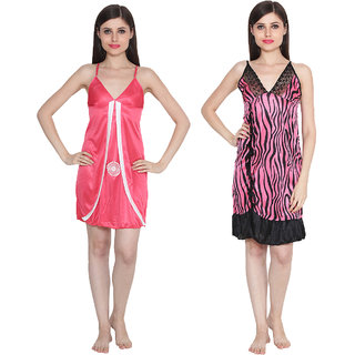 Ansh Fashion Wear Women's Satin Nightwear Babydoll Dress Pack of 2