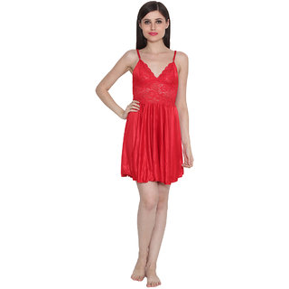 Ansh Fashion Wear Women's Satin Nightwear Babydoll Dress
