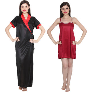 bfc1a4f10d Buy Ansh Fashion Wear Women s Satin Nightwear Babydoll Dress Pack of 2  Online - Get 57% Off