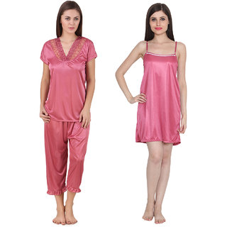 b22efcfc47 Ansh Fashion Wear Women s Satin Night Wear Suit Set   Baby Doll Pack Of 2
