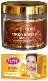 FEM De-Tan Crme Bleach 30g and Pink Root Cocoa Butter Scrub 100gm Pack of 2