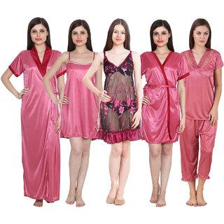 Buy Ansh Fashion Wear Women s Satin Night Wear Set Pack Of 5 Online ... faefbdd97
