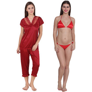 3f234ffc99b Buy Ansh Fashion Wear Women s Satin Night Suit With Thong Set Online - Get  54% Off