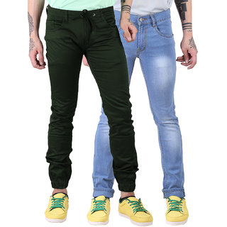 Van Galis Fashion Wear Green Jogger And Blue Jeans For Men Pack Of  - 2
