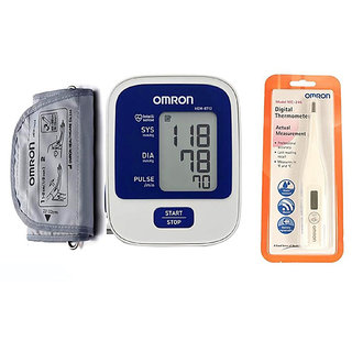 OMRON HEM-8712 AUTOMATIC BP MONITOR WITH 5 YEARS WARRANTY AND DIGITAL THERMOMETER OMRON MC-246 COMBO.