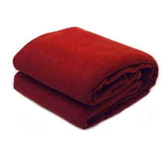 Double Bed Fleece Blanket  1 Pcs, Red  Color   &  size  90 inch x98 inch