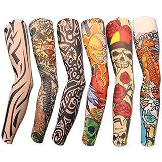 Tahiro Multicolour Cotton Tattoo Print Arm Sleeves - Pack Of 6
