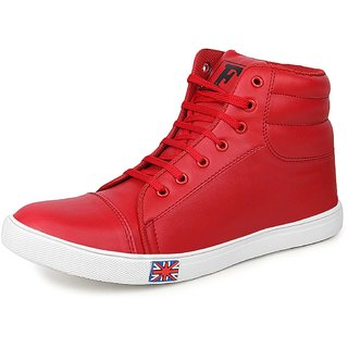 Floxtar Men's Red Lace up Sneakers