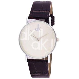 HK  DK Rose Gold Silver  Dial Black Belt Analog Watch For Men