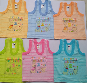 New Born Baby Kids Inner Wear Baniyan Unisex Printed  hosiery Cotton Baby vests ( 0 to 3 Months)
