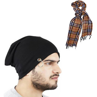 20a469a6647 Buy Combo Of Winter Casual Stylish Warm Black Cap for Men And Assorted  Color Muffler Online - Get 86% Off