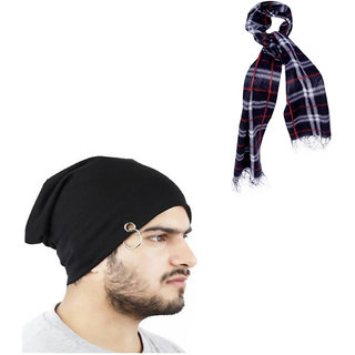 824575e6cdc Buy Combo Of Winter Casual Stylish Warm Black Cap for Men And Assorted  Color Muffler Online - Get 85% Off